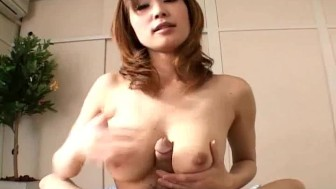 Japanese babe gives tit job then sucks Uncensored