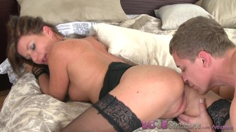 Love Creampie MILF business woman in stockings loves her husband's fat cock