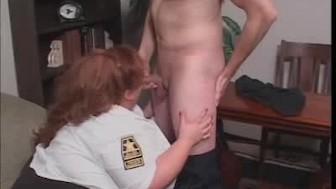Cock Sucking BBW Security Guard