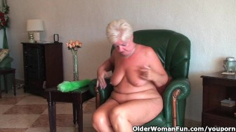 Chubby granny with saggy big tits and plump ass masturbates