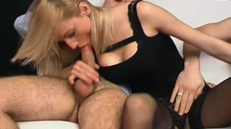 Blonde loves the double-cock experience - Telsev