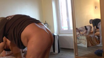 Old man gets his dick wet from a younger woman, and her friend joins in - Telsev