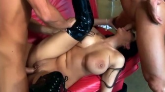 Big boobed babe dped in black thigh high boots