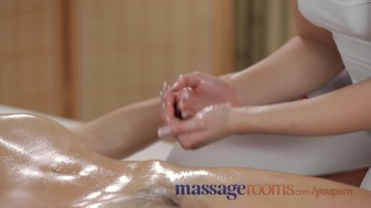 Massage Rooms Sexy young lesbians have oily fun until intense climax