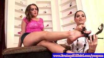 Natasha Nice and Eve Angel show feet off
