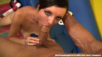 Dirty Stepdaughter Licks Her Stepdad's Ass