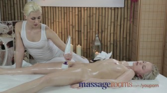 Massage Rooms Innocent young blonde has deep orgasm with lesbian masseuse