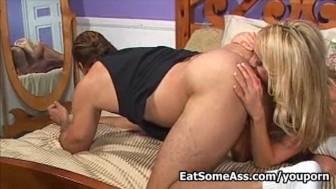 Blonde Ass Eater Kelly Wells sucks cock eats ass for cum in mouth