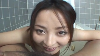 Japanese babe Reo Matsuzaka gulps a stiff dick uncensored