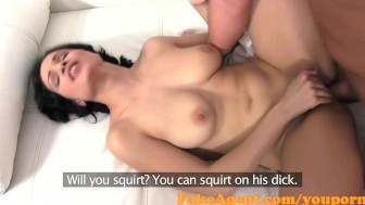 FakeAgent Great body brunette gets spunked over in Casting interview