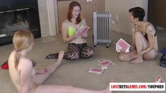 3 girls play strip poker