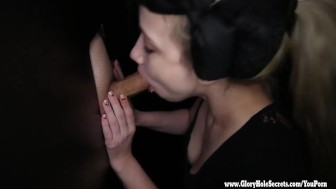 Gloryhole Secrets sexy Rainy loves slurping on cock 1