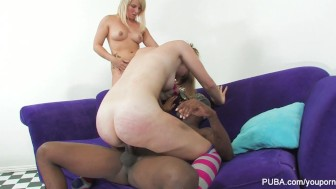 2 Blondes and A Giant Black Cock