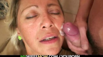 Hot mother in law agrees to suck his horny cock