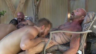 Bears boning twinks in the back yard - Factory Video