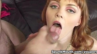 Flawless stripper Marie McCray sucks cock then gets Jizz on her Glasses