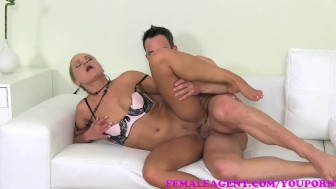 FemaleAgent Sexy stud shoots his glorious goo over MILF agents tongue