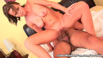 Busty soccer mom sucks cock and gets fucked