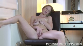 Hot Natural Hairy Redhead Masturbates Solo to Multiple Orgasms