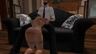 Fred Adjani se tape la belle Kirsty en mini robe moulante fendue