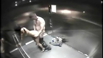 camera on elevator catches horny amateur husband fucking his sexy & equally horny wife doggystyle!!!