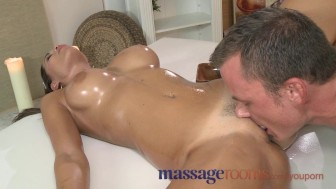 Massage Rooms Stunning big boobed girl enjoys massive cock in her small hole