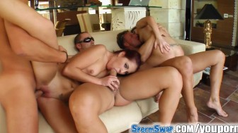 Sperm Swap These two girls are swallowing three GIANT cum loads