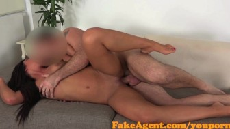 FakeAgent Hot tanned babe takes first time Creampie in Casting