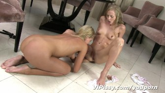 Sexy blonde girlfriends soaked head to toe in fresh pee