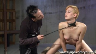 Ginger sex slave is whipped and flogged for his pleasure