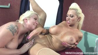 Nikita Von James gets a relaxing massage form Leya Falcon
