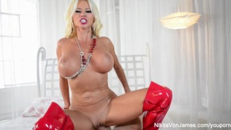 Nikita Von James sucks and fucks a big dick