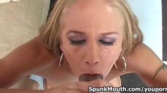 Talented Kylie Wilde Gives Head to a HUGE Cock then gets Cum across her Face