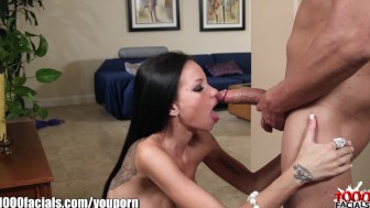 1000Facials Tattoo girl Raven Bay's petite mouth full of cum!