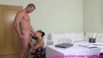 FemaleAgent Ripped stud eager to fuck sexy MILFs in her office