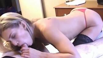 Hot blonde amateur GF sucks dick with facial