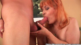 Shoot your cum load on a grandma's face or tits