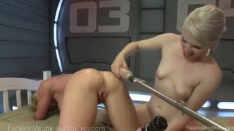 Two Blondes Fuck Dildo Robot