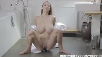 Busty Buffy brushing teeth and masturbating
