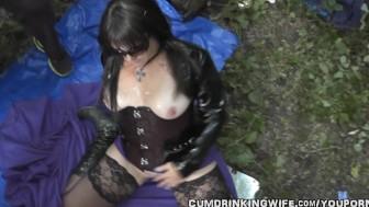Dogging wife gangbanged by 20 guys in public