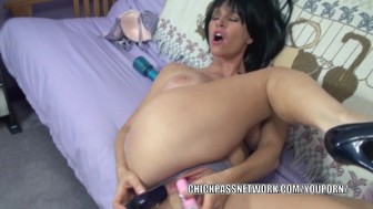Brunette MILF Melissa Swallows fucks her ass with toys