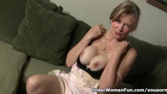 Mom looks so hot in her stockings