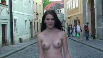 Hot czech babe shows her sexy naked body in public