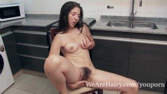 Virgin masturbates in the kitchen after a peach