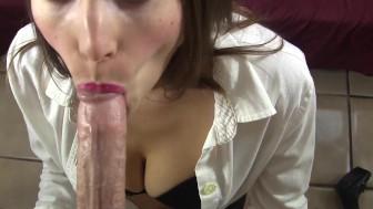 Submissive secretary sucks your cock POV then cum on tits