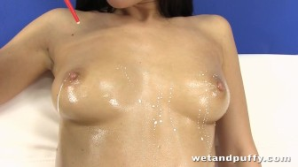 Hot Czech babe uses a glass dildo to give herself an orgasm