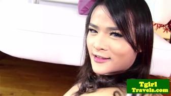 Asian tranny Natty anal plays with dildo