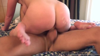 Big Tit Blonde Takes a Milky Cumshot Across Her Soles