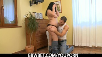 Cute BBW rides his horny dick