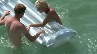Voyeur caught sex in the water on an air mattress